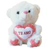 Peluche Blanco de 24cm con Corazón H906-02-3 al mejor precio solo en LOI