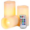 Set de 3 Velas LED 3 tamaños 12 colores Control Remoto al mejor precio solo en loi