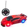 Auto Inalámbrico a Control Remoto con Forma de Volante y Ruedas con Luces LED - Rojo al mejor precio solo en loi