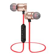 Auriculares Bluetooth Deportivos con imán Rojo y Dorado al mejor precio solo en loi