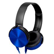 Auriculares Extra Bass c/ micrófono y cable plano Azul