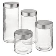 Set de 4 Frascos de Vidrio Multiuso con Tapa de Metal Diferentes Tamaños al mejor precio solo en loi