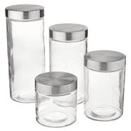 Set de 4 Bollones de vidrio multiusos con tapa de metal al mejor precio solo en loi