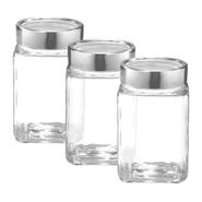 Set de 3 Bollones de vidrio multiusos con tapa de metal. al mejor precio solo en loi