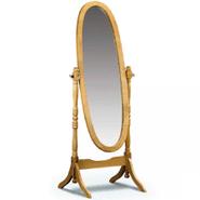 Espejo oval de pie con marco de madera color natural al mejor precio solo en loi