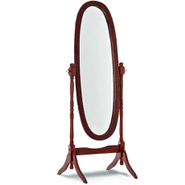Espejo oval de pie con marco de madera color tabaco al mejor precio solo en loi