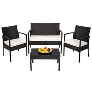 Juego de Jardín en Rattán Plástico con sofá, sillones y mesa ratona - Negro al mejor precio solo en loi
