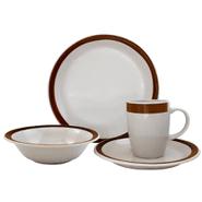 Juego de Vajilla en Porcelana 16 Piezas Diseño Redondo - Marrón al mejor precio solo en loi