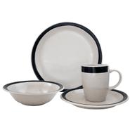 Juego de Vajilla de Porcelana 16 Piezas Diseño Redondo - Negro al mejor precio solo en loi