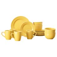 Juego de Vajilla Redondo de Porcelana 16 Piezas - Amarillo al mejor precio solo en loi