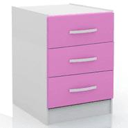 Mesa de luz 3 cajones en MDP Blanco y rosa al mejor precio solo en loi