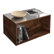 Mesa Ratona Classic con Vidrio Espejo - Nogal al mejor precio solo en LOI