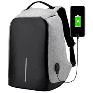 Mochila Antirrobo en tela impermeable con USB Gris al mejor precio solo enloi