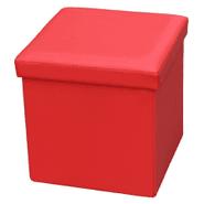 Puff Baúl Plegable en Símil Cuero - Rojo al mejor precio solo en LOI
