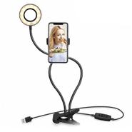 Aro de Luz Para Selfies 9 cm para Celulares con Brazo Flexible Conexión por USB - Negro al mejor precio solo en loi