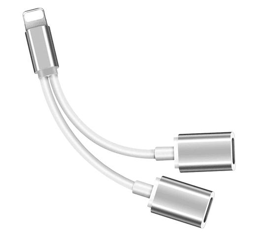 Adaptador Doble Lightning para Iphone Carga y Auriculares al mejor precio solo en loi