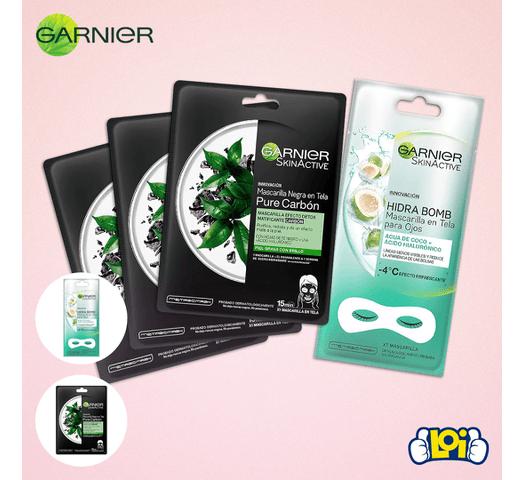 Pack mascarillas Garnier 3 Pure Carbon + 1 mascarilla Hydra Bomb de regalo al mejor precio solo en loi