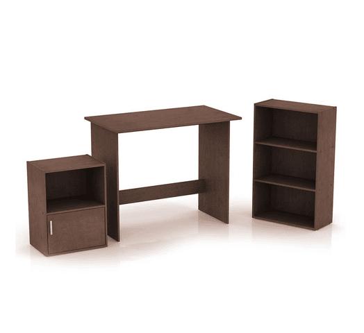Combo de escritorio, biblioteca y estantería Tabaco al mejor precio solo en loi