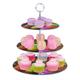 Te presentamos este práctico exhibidor para cupcakes u otros postres con el cual podrás decorar tu mesa y lograr una mejor presentación para sorprender a tus invitados. Cuenta con 3 niveles en bases de vidrio de 3 tamaños diferentes, es muy fácil de armar y desarmar y no ocupa lugar cuando no está en uso.